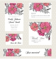 Wedding invitation set with vintage flowers vector image