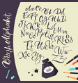 artistic background with ink pens and alphabet vector image vector image