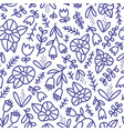 blue doodle floral pattern vector image vector image