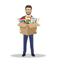 businessman holding in a cardboard box vector image