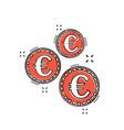 cartoon euro coins icon in comic style money coin vector image vector image