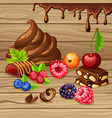cartoon sweet products set vector image vector image