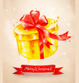 christmas vintage postcard with giftbox vector image vector image