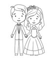 coloring book cartoon groom and bride vector image vector image
