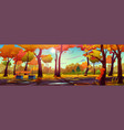 fall park or forest panorama autumn landscape vector image vector image
