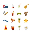Flat Color Isolated Cuba Icons vector image