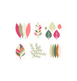 flat set of colorful leaves botanical vector image vector image