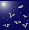 flying bats in the night sky with the moon and vector image vector image