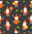 funny gnomes and gifts seamless pattern cute vector image