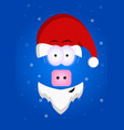 funny piggy with a beard in santas hat merry vector image
