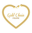 gold chain heart love border frame wreath shape vector image