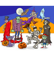 halloween holiday cartoon spooky characters group vector image vector image