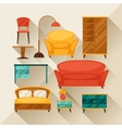 Interior icon set with furniture in retro style vector image vector image