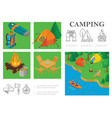 isometric camping colorful composition vector image vector image