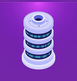 isometric database server on purple vector image vector image