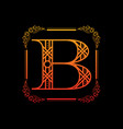 letter b with ornament vector image vector image