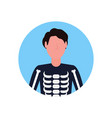 man wearing skeleton costume face avatar happy vector image