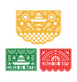 papel picado set mexican paper decorations vector image