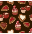 Seamless Background with Cookies and Cupcakes vector image vector image
