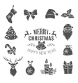 Set monochrome christmas icons vector image vector image