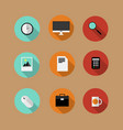 set of flat bussines icons vector image vector image