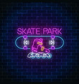 skatepark glowing neon sign skating on skateboard vector image