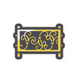 steel fence forged metal element with ornament vector image