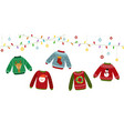ugly sweater banner celebrating christmas vector image vector image