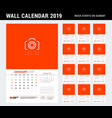wall calendar template for 2019 year week starts vector image vector image