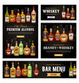 whiskey rum and tequila alcohol drinks bar menu vector image vector image