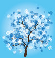 winter tree with snowflakes leaves on blue vector image vector image