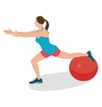 woman fitness position using stability ball vector image