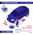 banner for advertising wheel replacement service vector image vector image