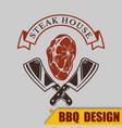 bbq logo steak house meat image vector image vector image
