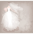 bride in wedding dress on grungy background vector image
