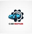 car repair service with circle gear logo icon vector image