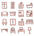 cartoon furniture set icon in comic style home vector image