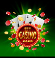 casino banner in a frame on background vector image vector image