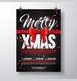 christmas party flyer with red bow vector image vector image