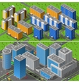 City Buildings 2 Banners Isometric Composition vector image vector image