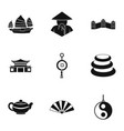 country of china icon set simple style vector image vector image