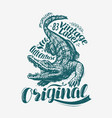 crocodile t-shirt design alligator drawn vintage vector image vector image