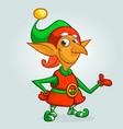 cute cartoon little boy santa helper elf vector image vector image