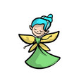 cute fairy with gold wings blue hair and green vector image vector image