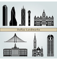 dallas landmarks and monuments vector image vector image
