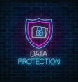 data protection glowing neon sign internet cyber vector image