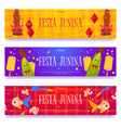 festa junina banners with braids fish and corn vector image