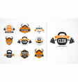 fitness club or gym logo emblem icons vector image vector image