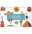 flat mexico elements colorful concept vector image vector image