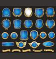 golden shields laurel wreath badge and labels vector image vector image